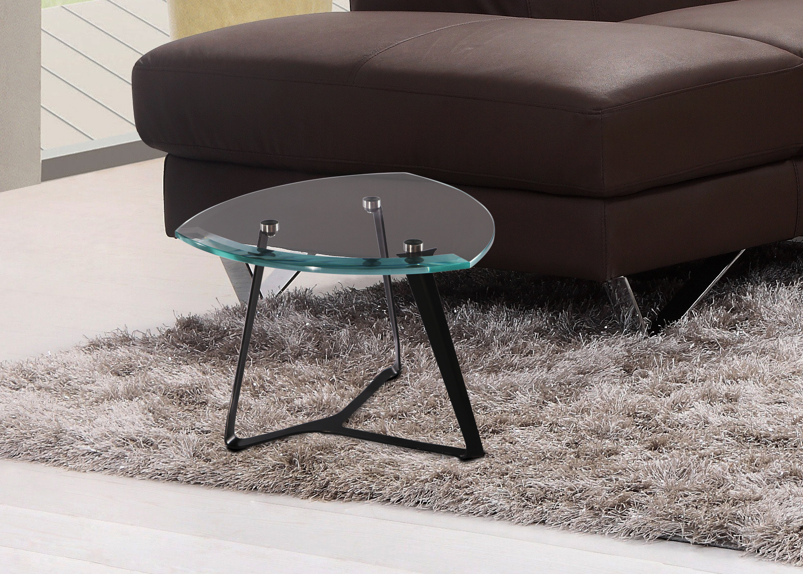 Pay bit crystal coffee table coffee table low and comfortable thin steel base tempered glass ultra clear made in Italy handmade by master craftsmen beautiful for luxury living rooms a product Greyge